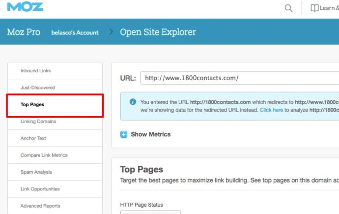1800Contacts results on Moz