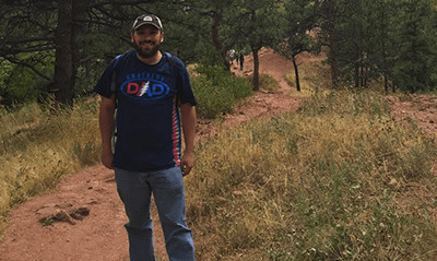 Mike Belasco on hiking trail.