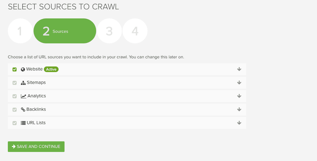Deep Crawl Sources Screenshot