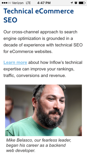 Mobile Version of Technical eCommerce SEO Section