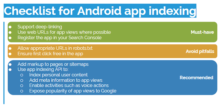 Checklist from Will Critchlow's SearchLove presentation on android apps
