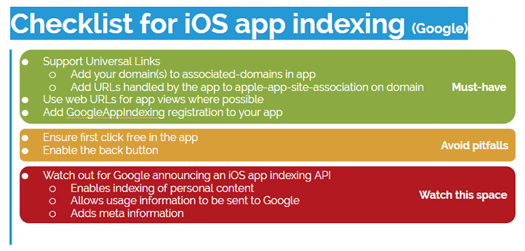 Checklist Will Critchlow's SearchLove presentation on iOS apps