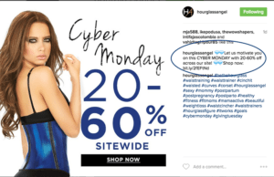 Hourglass Angel cyber monday instagram post