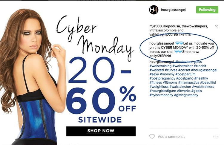 Hourglass Angel cyber monday instagram post