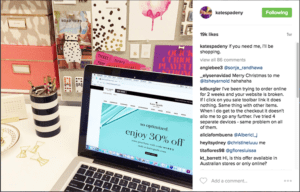 kate spade instagram desktop view