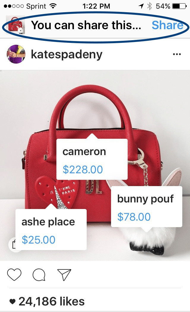Kate spade Instagram post featuring three tagged products with prices. At the top a bar with the text: You can share this? Share.