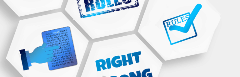 An illustration of hexagons with different styles of text stating: Rules.