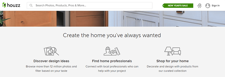houzz sticky header