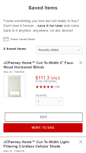 Image of JCPenney.com wish list.
