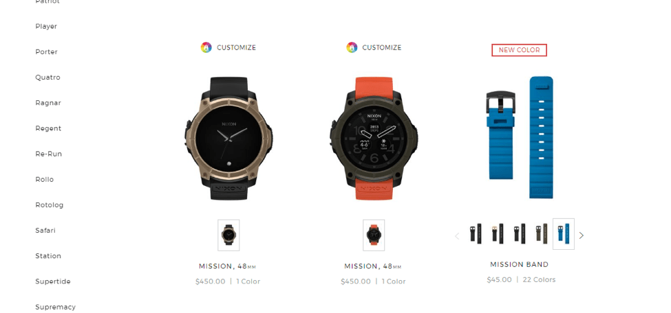 Image of new products on Nixon.com Gallery page.