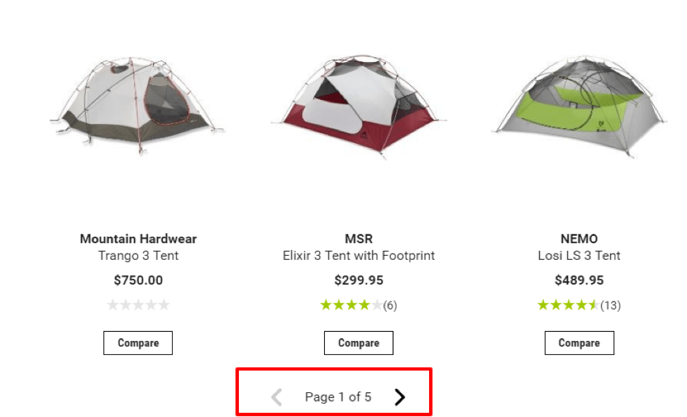 Image of REI product page pagination