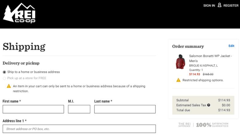 Image of REI.com online checkout process.