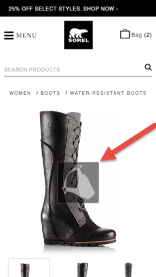 Sorel pinch to zoom on mobile