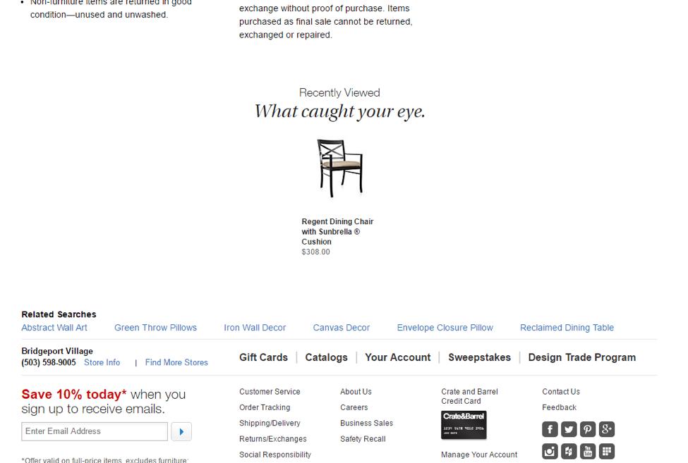 Image of CrateandBarrel.com recently viewed items.