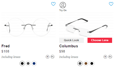 glasses usa mouse over options