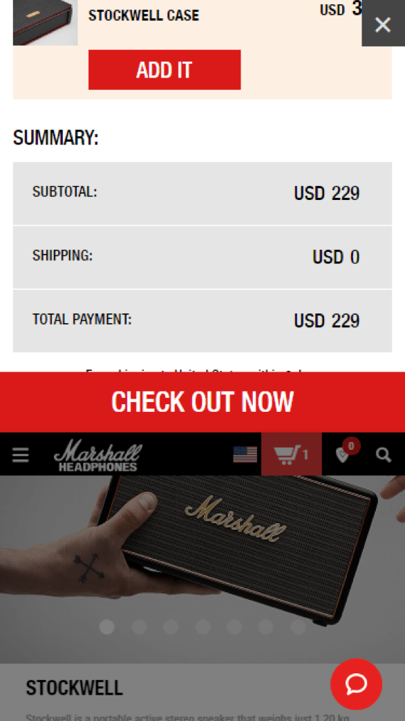 Image of Marshall Headphones online checkout.
