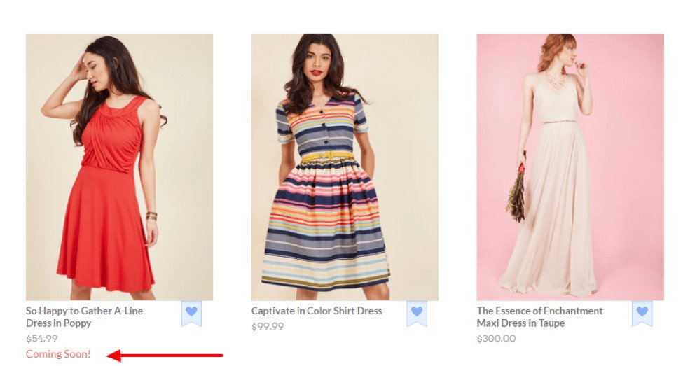 Image of ModCloth Coming Soon page.