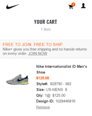 Image of Nike.com shopping cart.
