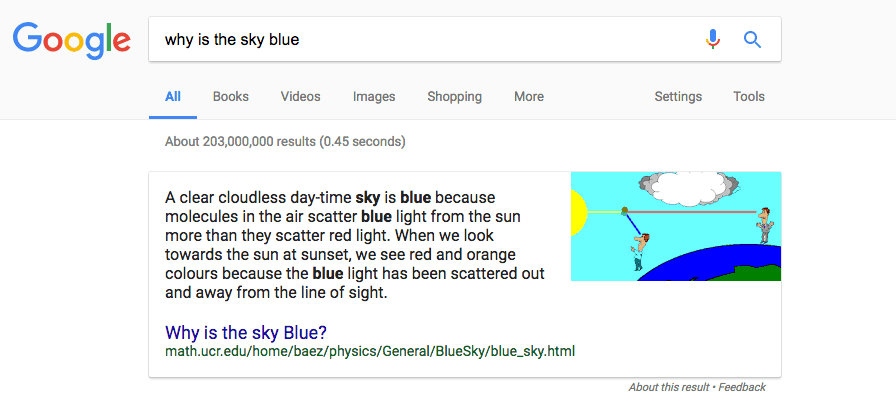 Example of a paragraph featured snippet.