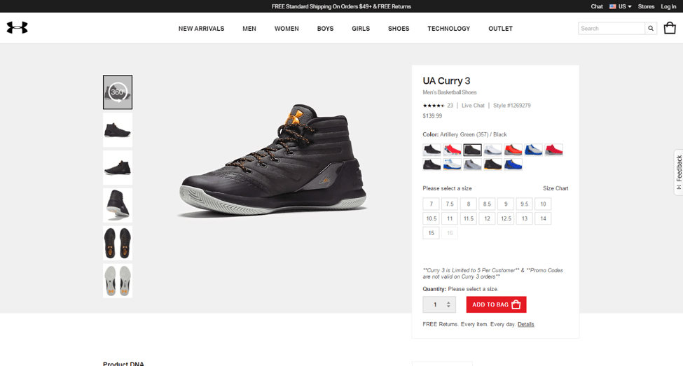 Image of UnderArmour.com product page with 360 degree viewing.