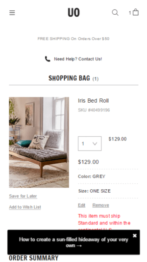 Image of UrbanOutfitters.com shopping cart.