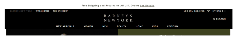 Image of Barneys New York website banner