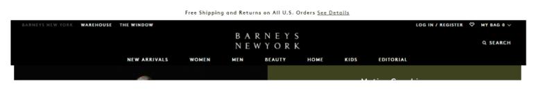 Image of Barneys New York website banner