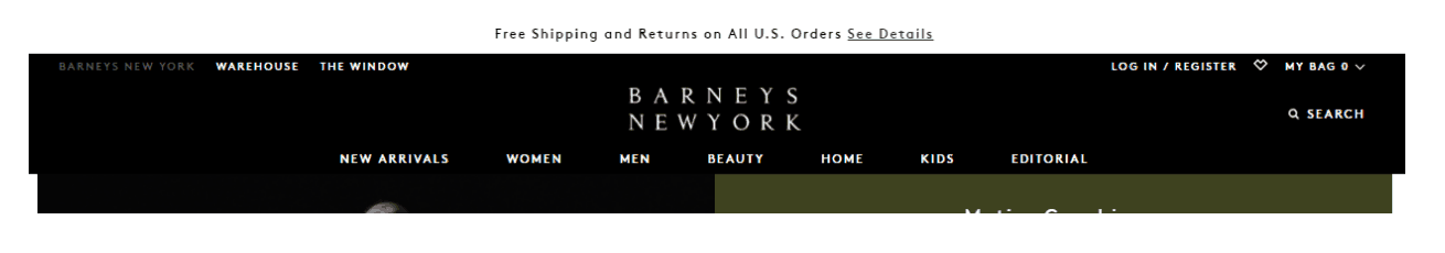 Barneys New York desktop website. A narrow banner at the top above the menu with the text: Free Shipping and Returns on all U.S. Orders.
