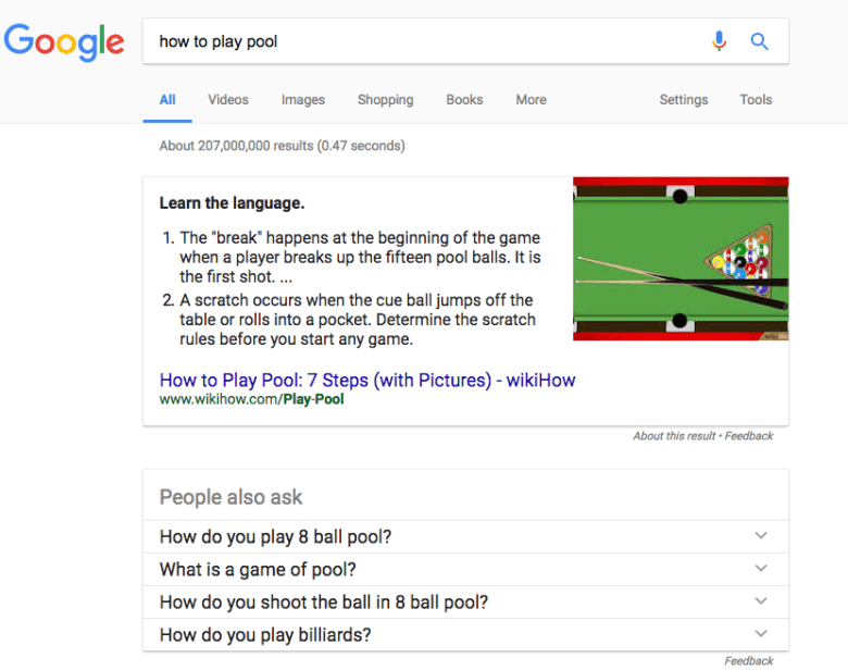 Image of ordered list featured snippet