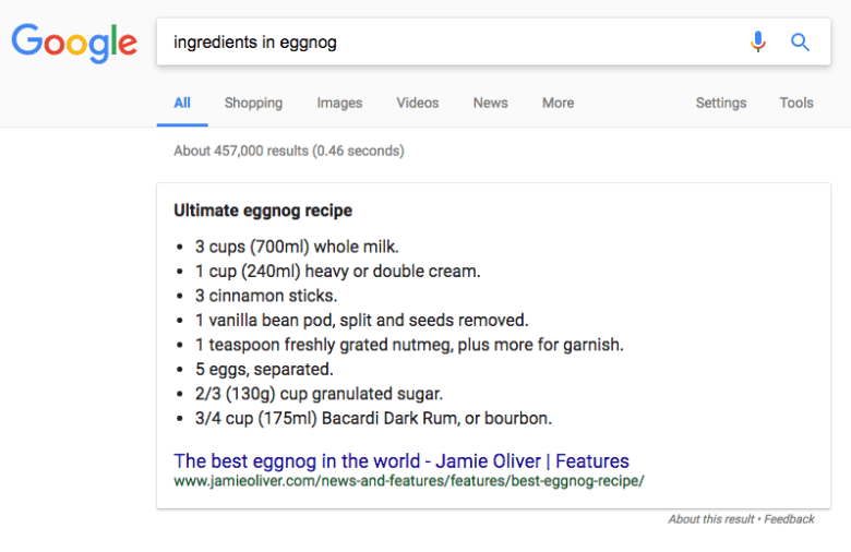 Image of unordered list featured snippet