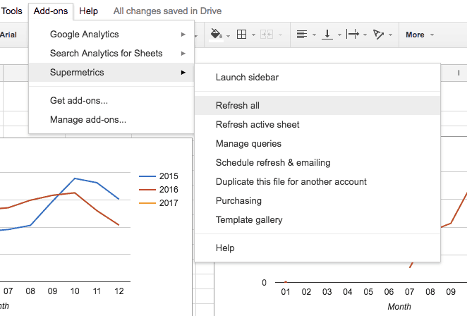 Google sheets screenshot. The Add-ons menu is extended, supermetrics menu is selected and extended, refresh all is selected.