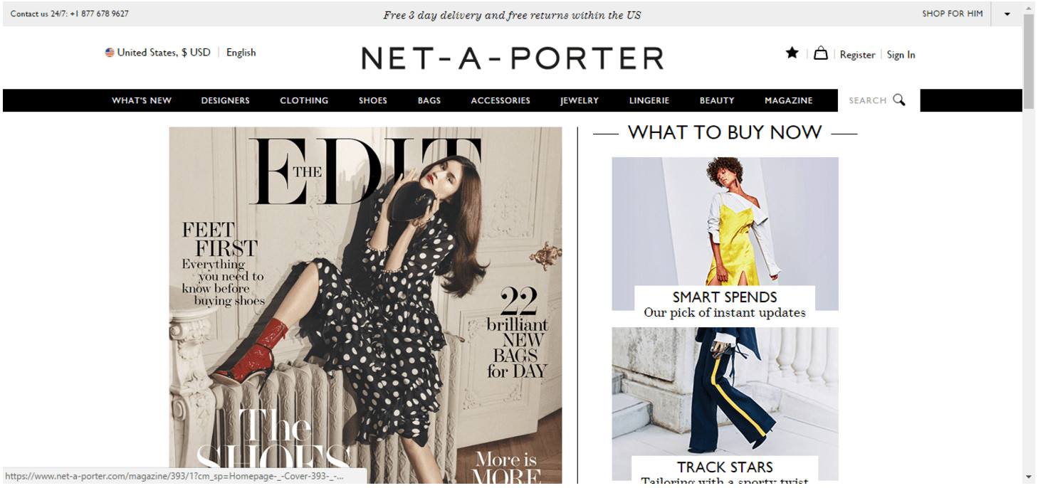 """Net-a-Porter.com desktop page. The right column is The Edit Magazine cover. The left column is titled """"What to Buy Now"""" followed by a vertical column of images."""