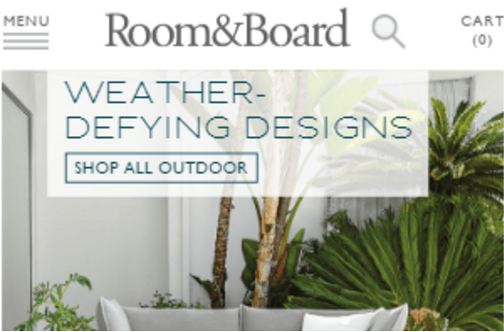 Image of Room and Board mobile homepage