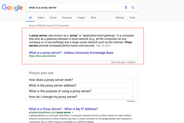 An example of a featured snippet in Google.