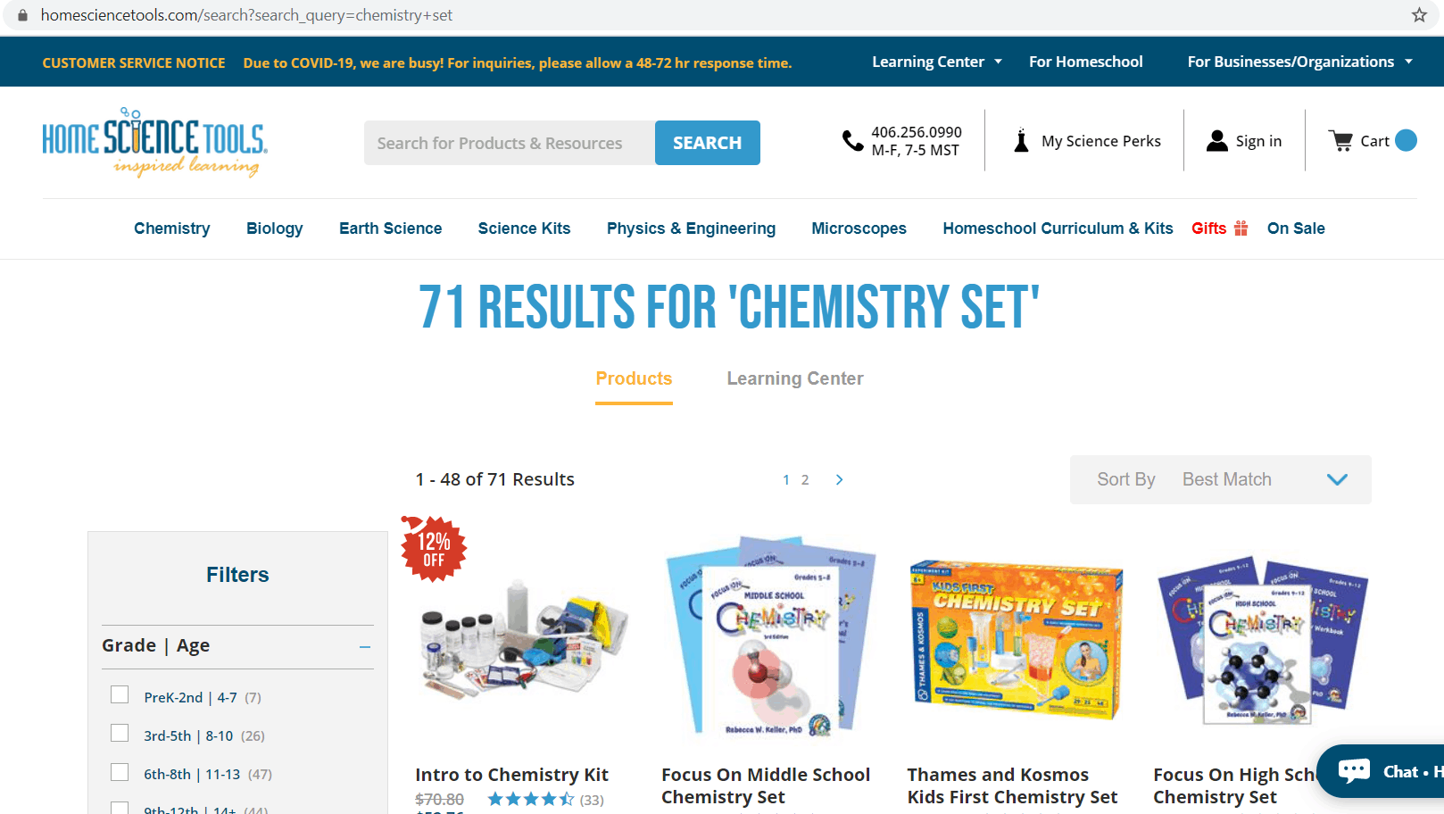 Home Science Tools search results screenshot. The U R L is homesciencetools.com/search?search_query=chemistry+set. Text at the top of the page states: 71 Results for 'Chemistry set.' Beneath the text are product pictures and associated names.