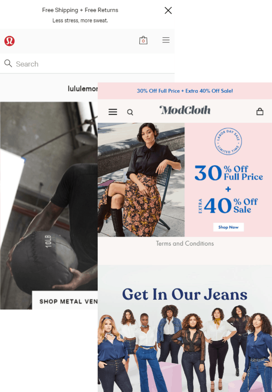 Lululemon and ModCloth screenshots.
