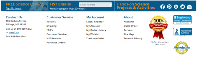 A bottom of the page screenshot with the following seals: Trustwave, B B B, Authorize.net, and 100% satisfaction guarantee.