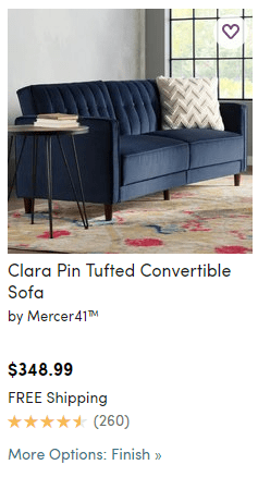 Wayfair More options instead of swatches