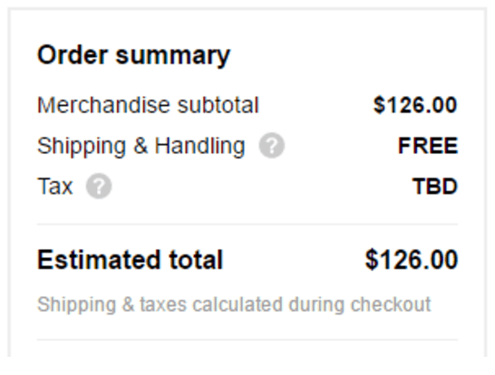 Sephora.com Shipping and Handling Listed Screenshot
