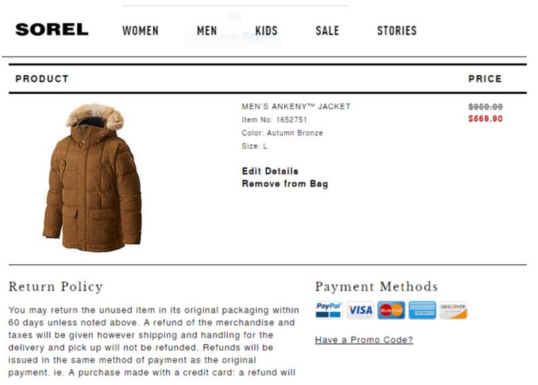 Sorel.com Returns Information Screenshot