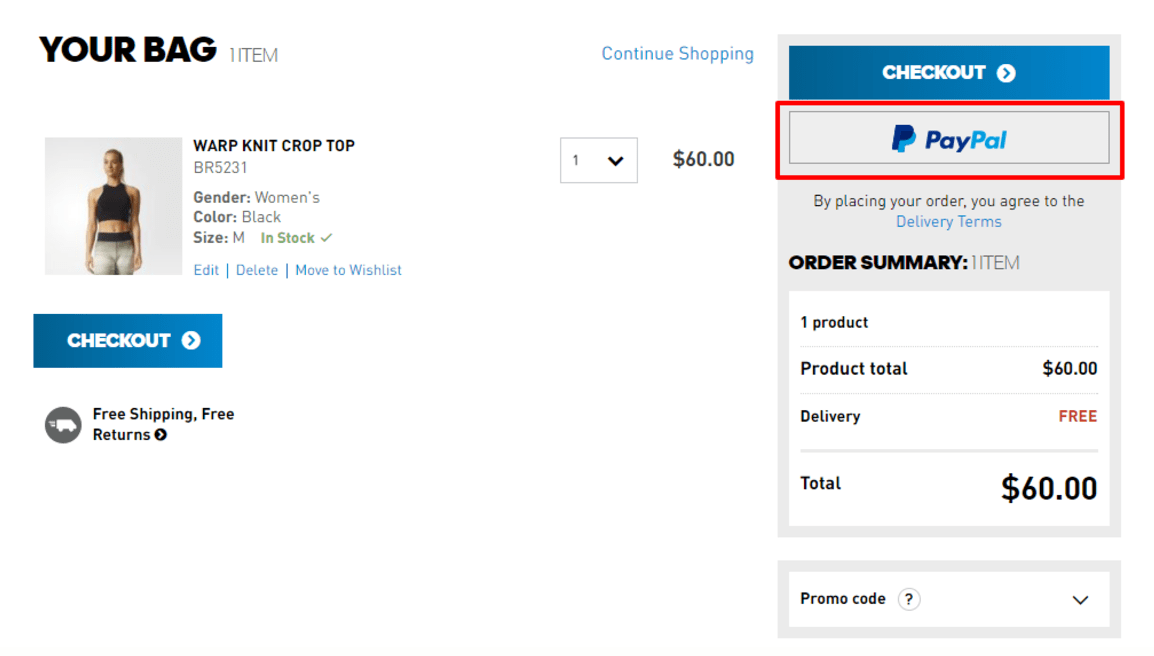 Adidas.com Pay with PayPal in Cart Screenshot