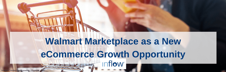 "Shopping Cart and woman holding a phone with ""Walmart Marketplace as a New eCommerce Growth Opportunity"" on top of the image."