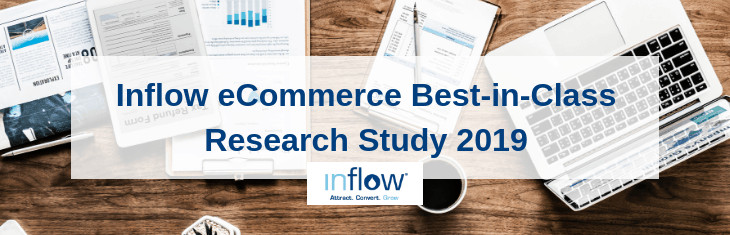 Inflow eCommerce best-in-Class Research Study 2019. Logo: Inflow. Attract. Convert. Grow.