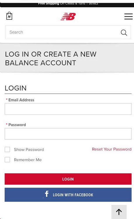 New Balance Mobile login screenshot. Two buttons at the bottom labeled: Login and Login with Facebook.