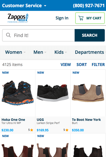 The best in class eCommerce sites have top nav on mobile