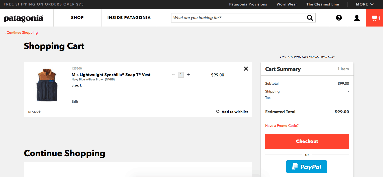 Desktop PDP: Provides Product Attributes in Patagonia Cart