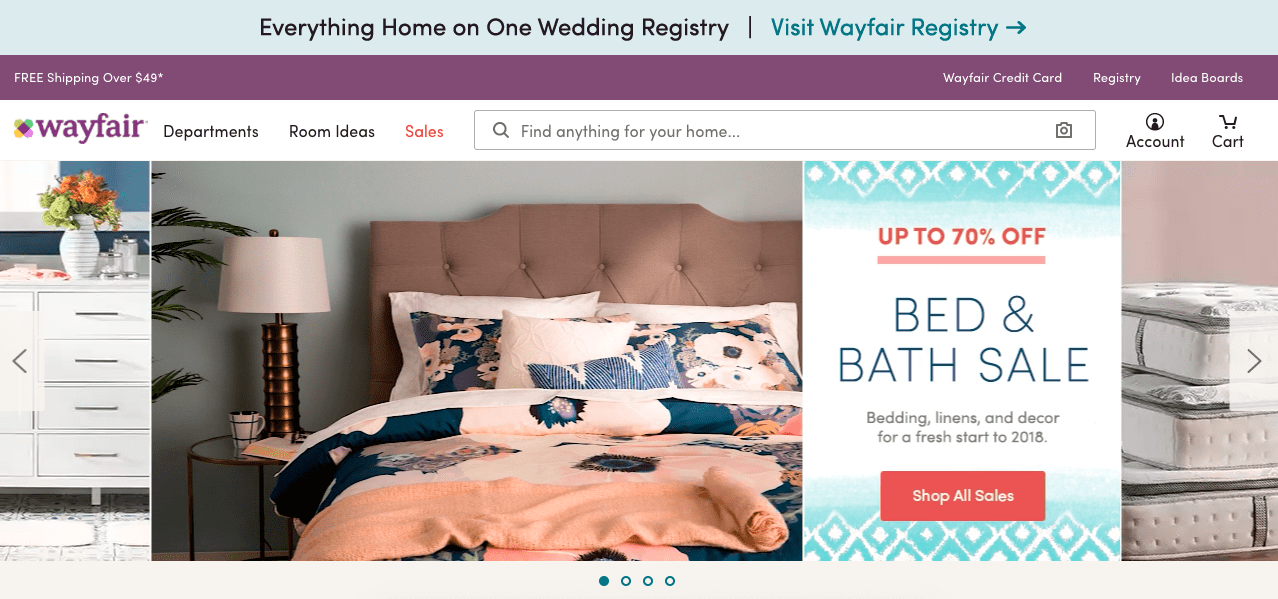 Desktop: Global Promotion Elements on Wayfair