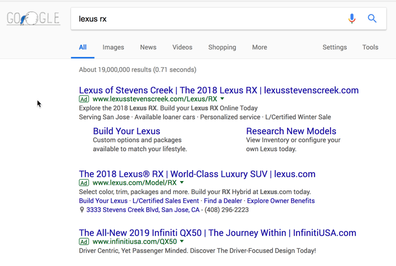 Branded search campaigns: Lexus lost the top spot