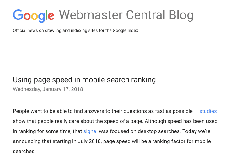 Google PageSpeed Webmaster Central Blog News