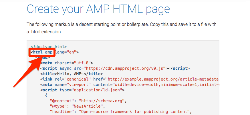 Create your AMP HTML page